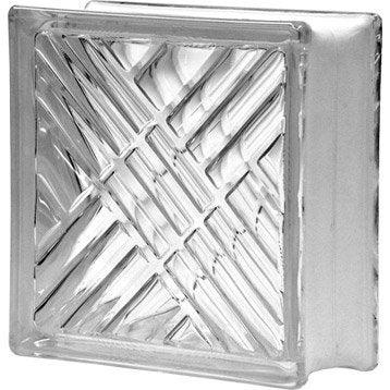Brique de verre, transparent quadrillé double face