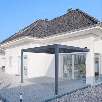 Pergola adossée orient, aluminium gris anthracite, 12 m²