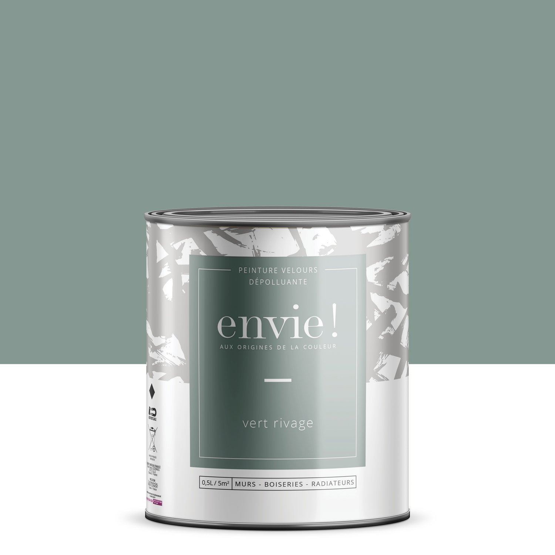 Peinture dépolluante mur, boiserie, radiateur ENVIE vert rivage velours 0.5 l