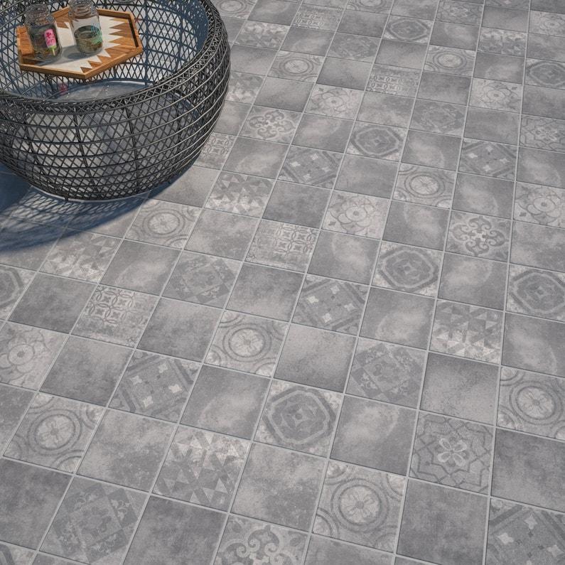Carrelage Sol Extérieur Forte Effet Carreau De Ciment Gris Apero L 20 X L 20 Cm