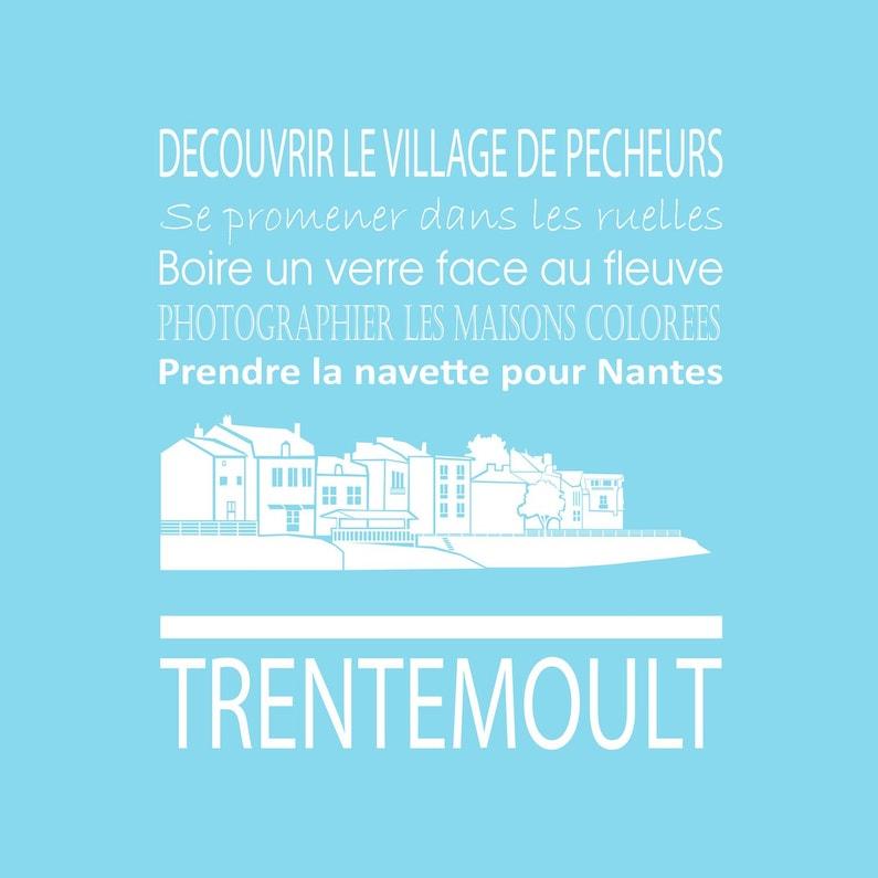 Toile Imprimée Trentemoult Bleu Artis L30 X H30 Cm