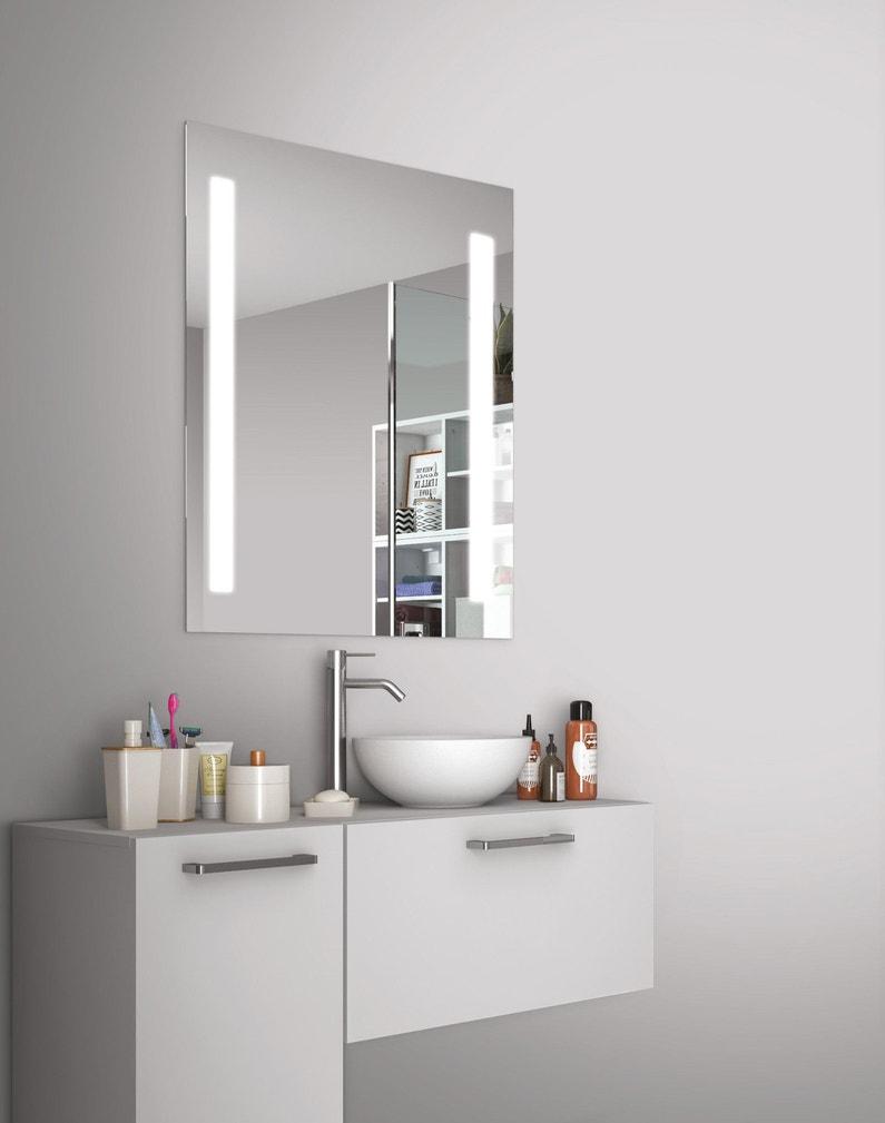 Miroir lumineux avec éclairage intégré, l.60 x H.70 cm Easy