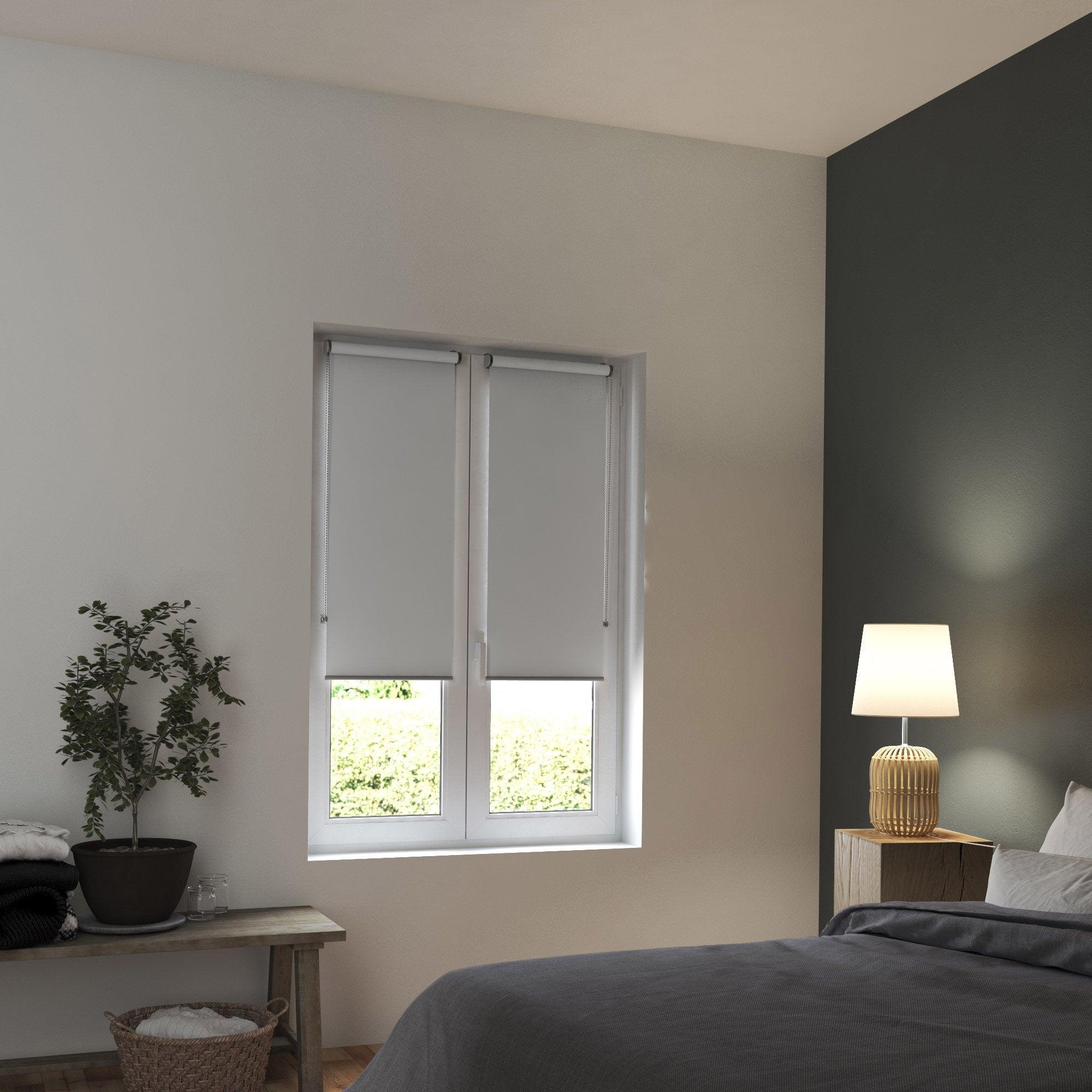 Store enrouleur occultant, blanc, l.45 x 160 cm