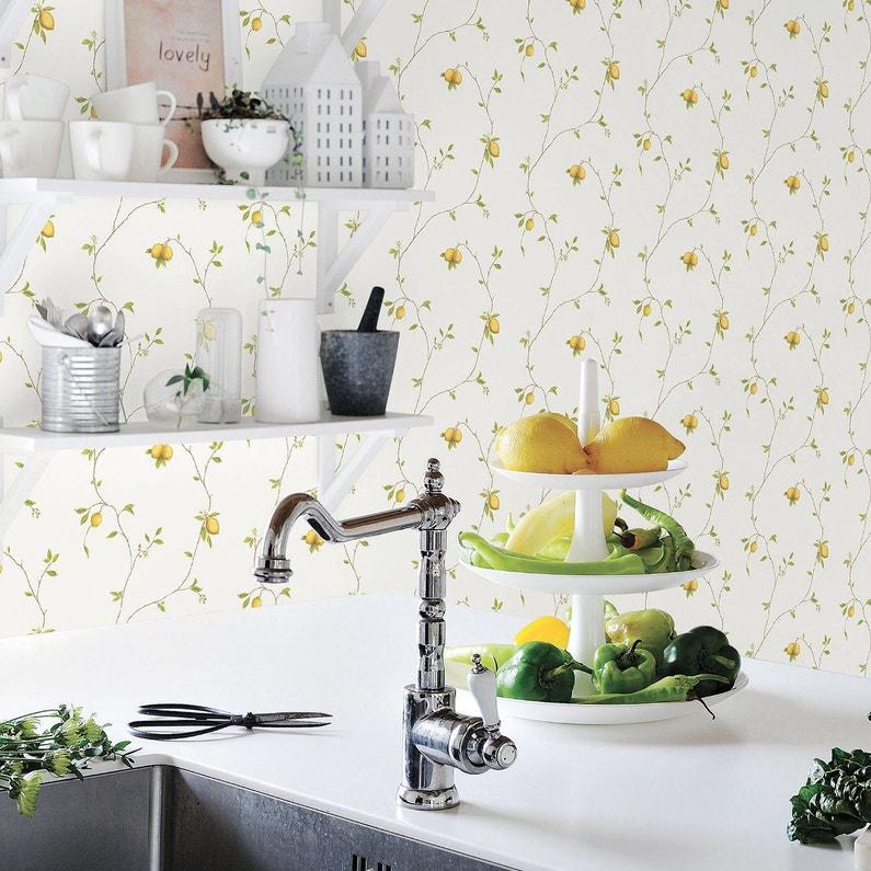 Papier Peint Vinyle Motif Cuisine Citrons Jaune Blanc