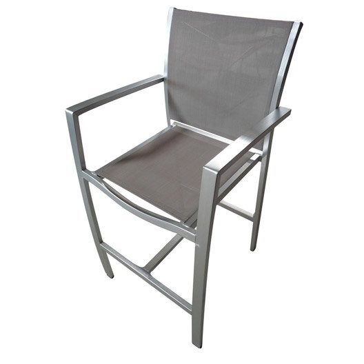 Chaise haute jardin en aluminium pacific structure argent for Chaise jardin aluminium textilene