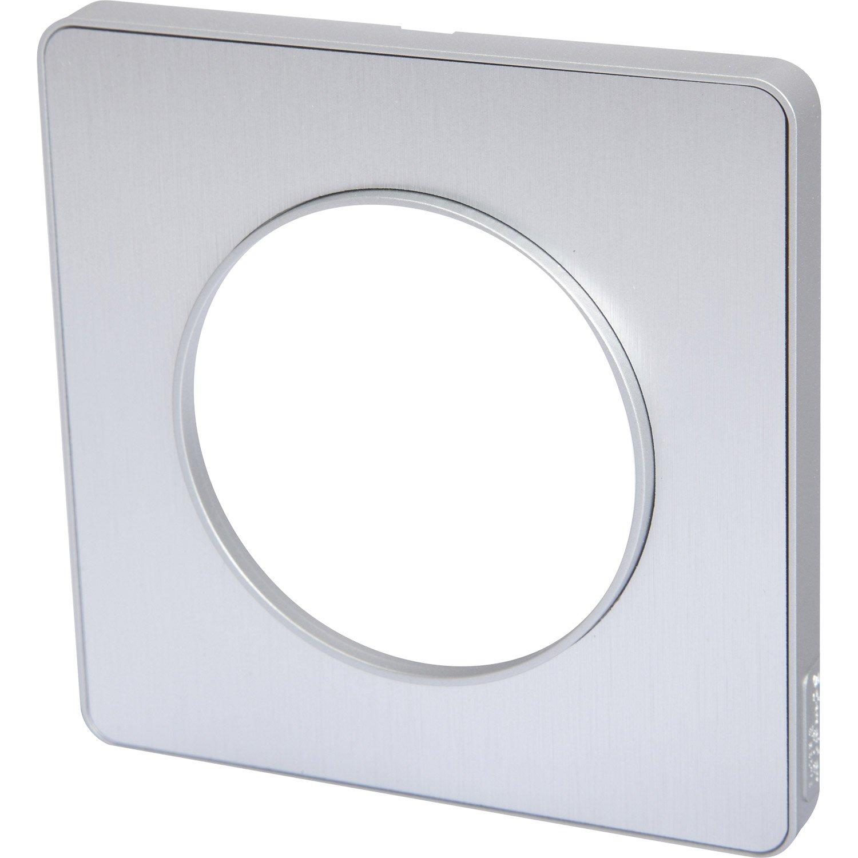 plaque simple odace schneider electric aluminium bross leroy merlin. Black Bedroom Furniture Sets. Home Design Ideas