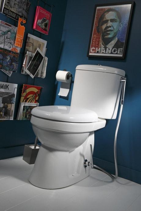 Un WC à poser avec la douchette intégrée