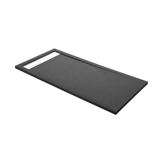 receveur de douche rectangulaire l.160 x l.90 cm, résine gris