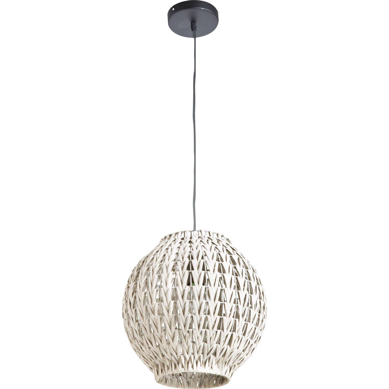 suspension e27 tahia rotin blanc 1 x 60 w lussiol leroy. Black Bedroom Furniture Sets. Home Design Ideas