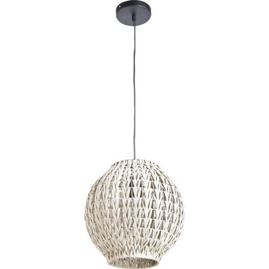 suspension e27 tahia rotin blanc 1 x 60 w lussiol leroy merlin. Black Bedroom Furniture Sets. Home Design Ideas