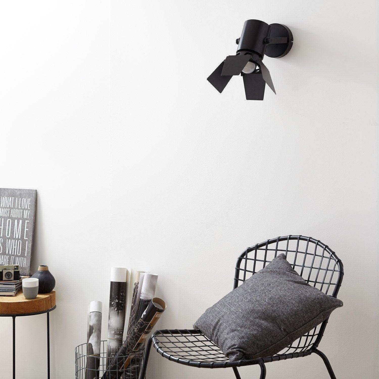 Applique, design e27 Studio métal Noir, 1 INSPIRE