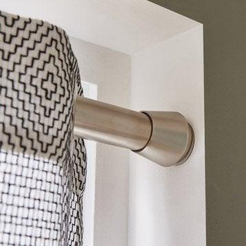 Kit de tringle à rideau extensible Yuko Diam. 28 mm chromé satiné 140/240 cm