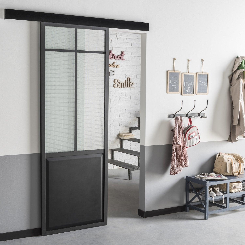 Une porte coulissante en applique atelier noir en - Prix d une porte coulissante scrigno ...