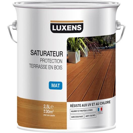 saturateur luxens saturateur protection terrasse en bois 2 5 l teck leroy merlin. Black Bedroom Furniture Sets. Home Design Ideas