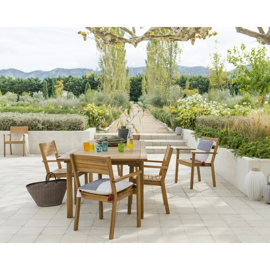 Salon de jardin Porto bois brun marron, 6 personnes | Leroy ...