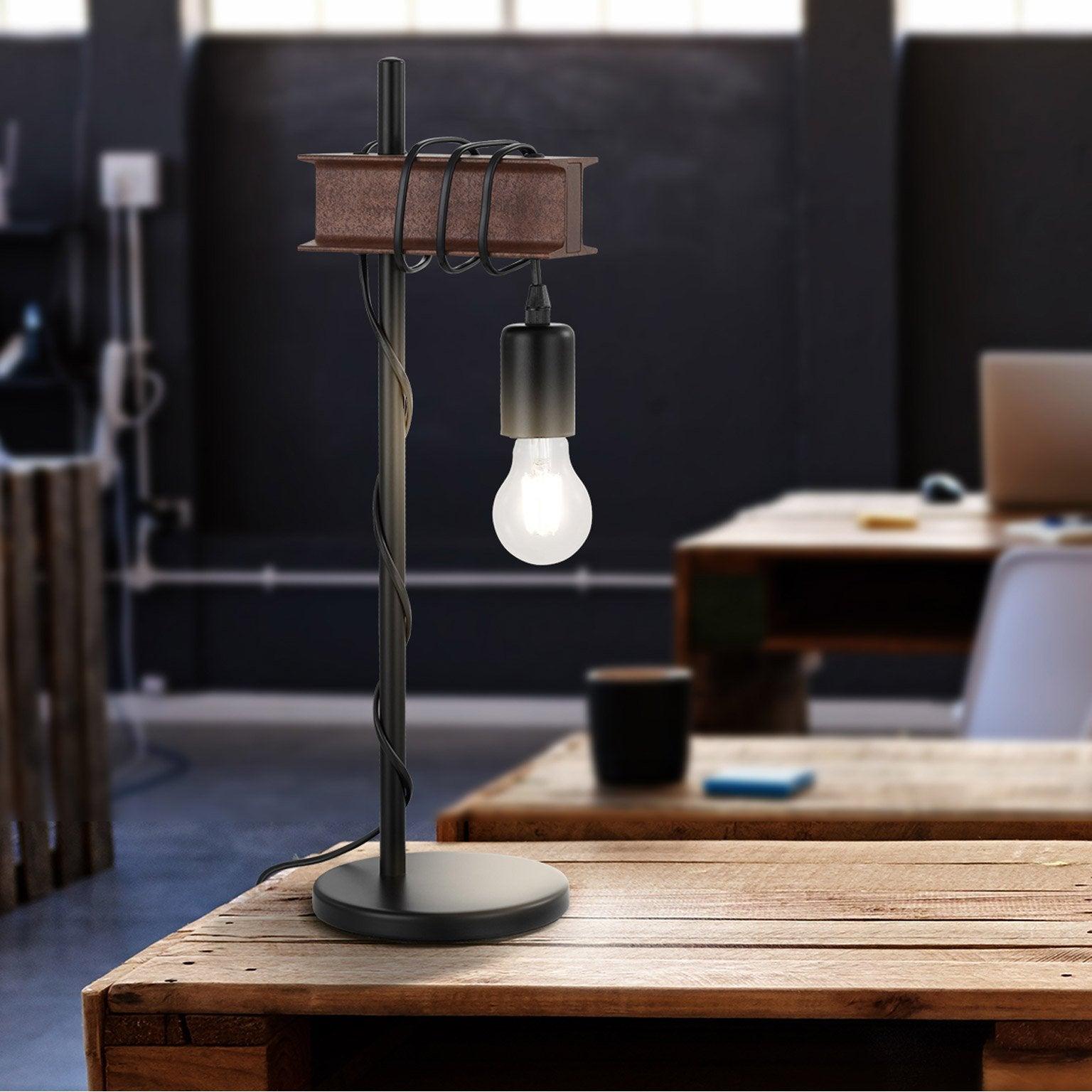 Lampe, industriel, acier inox marron, EGLO Medbourne