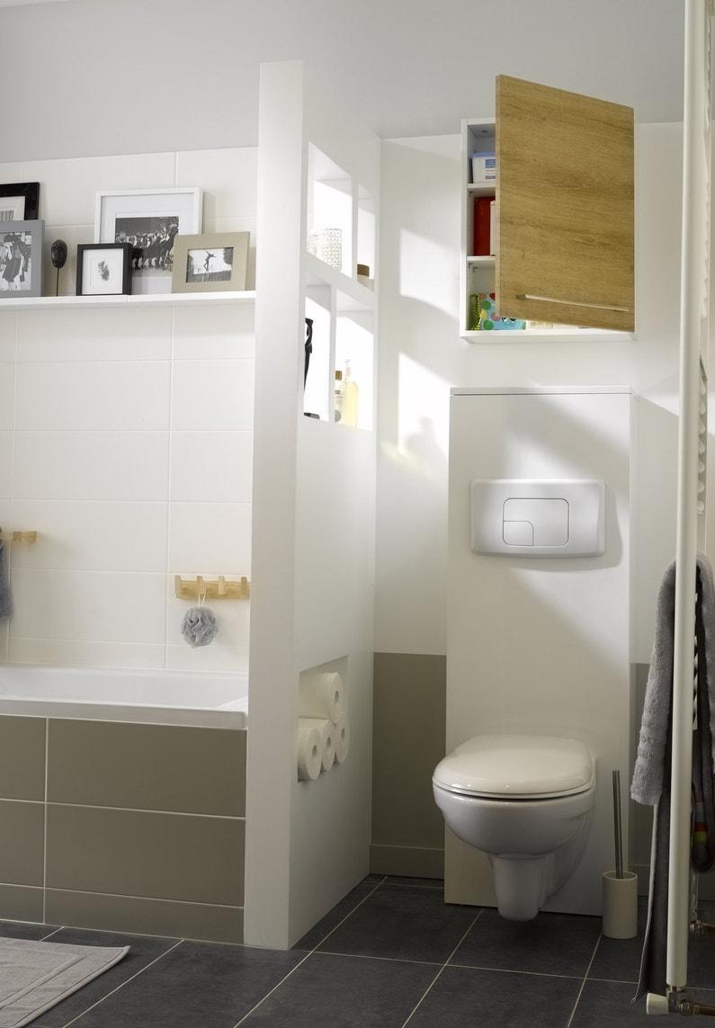 Wc blanc dans la salle de bains avec s paration leroy merlin for Salle de bain douche wc