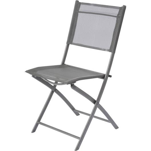 Chaise de jardin en acier Denver gris   Leroy Merlin