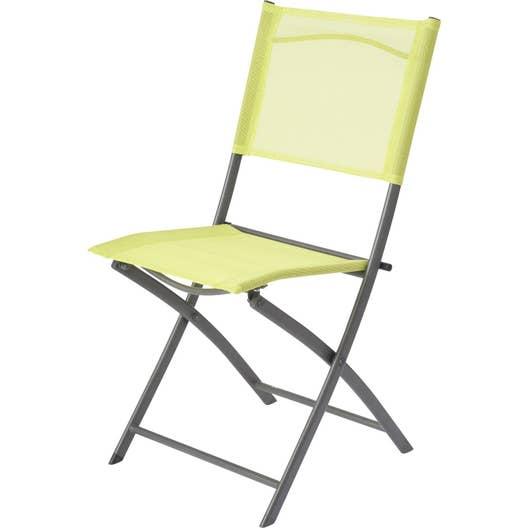 Chaise de jardin en acier denver vert leroy merlin for Chaise acier