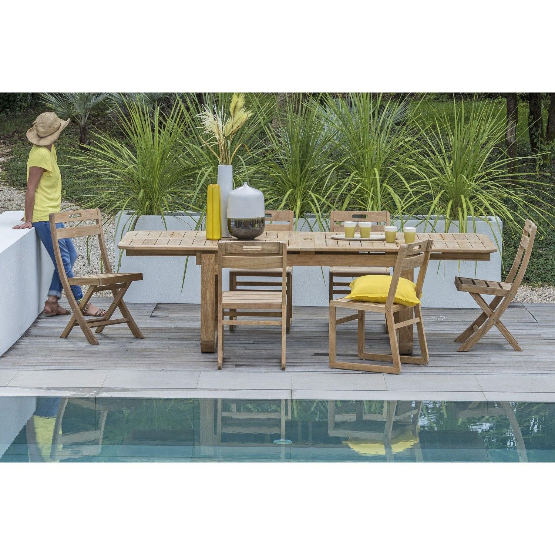 Salon de jardin resort naterial brun marron 6 personnes leroy merlin - Renover une table en teck ...