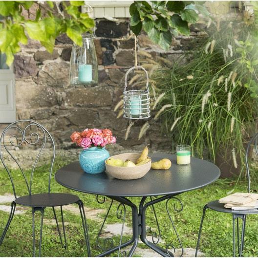 Salon de jardin Romantique gris anthracite, 2 personnes   Leroy Merlin