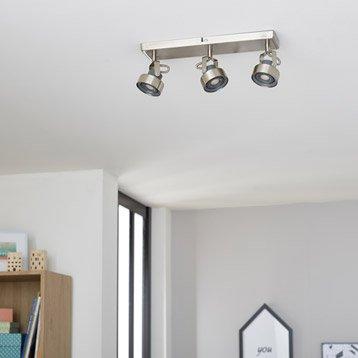 Rampe 3 spots led, 3 x LED intégrée, acier Poros INSPIRE