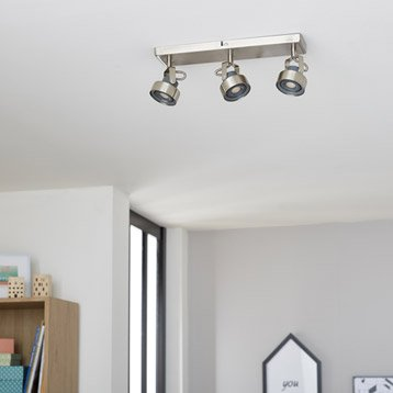 Rampe 3 spots LED intégrée led, 3, acier Poros INSPIRE