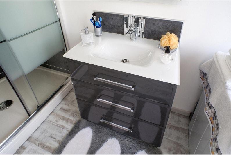 Meuble de salle de bains l.80 x H.84 x P.45 cm, gris foncé, Opale
