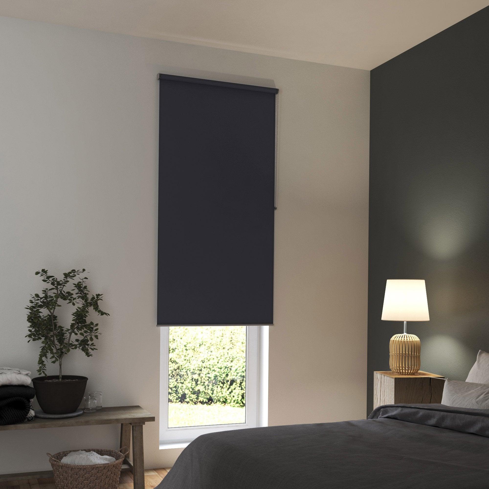 Store enrouleur occultant, gris foncé, l.90 x H.250 cm