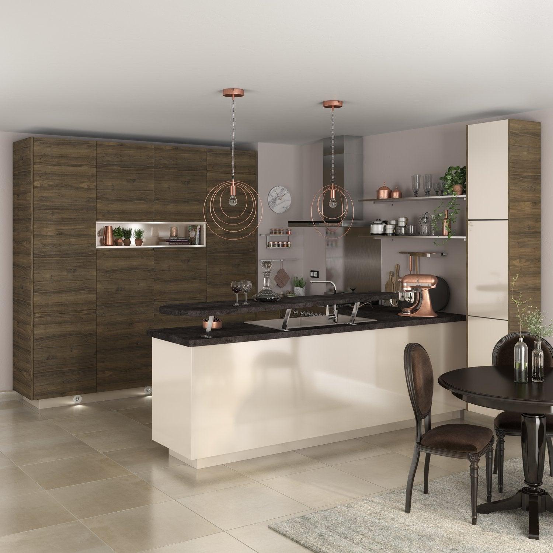 Cuisine avec bar et meubles sur toute la hauteur du mur  Leroy Merlin