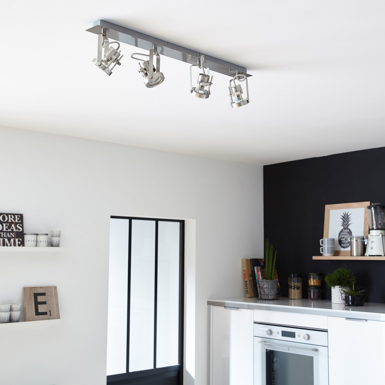 rampe 4 spots industriel technic 4 xgu10 acier inspire leroy merlin. Black Bedroom Furniture Sets. Home Design Ideas