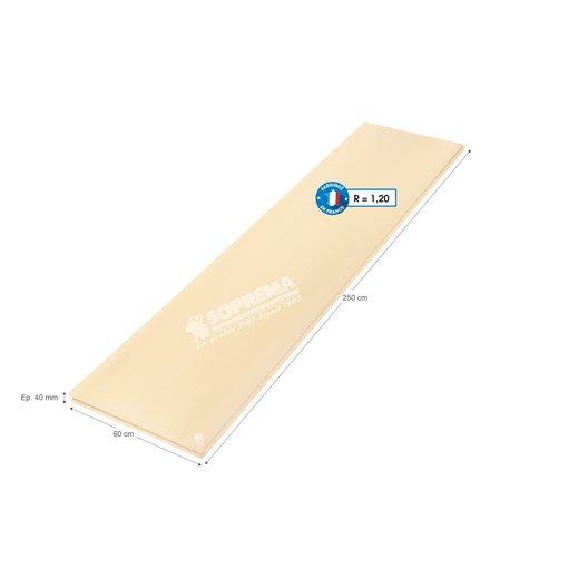 panneau en polystyrène extrudé, soprema 2.5x0.6m, ep.40mm, r=1.20