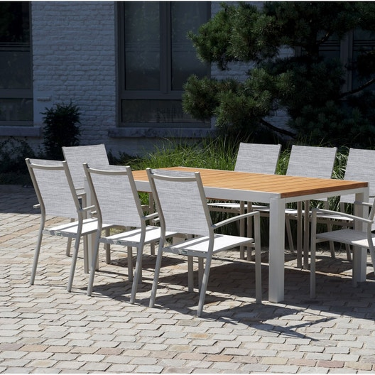 Salon de jardin Eze aluminium brun marron, 8 personnes | Leroy Merlin