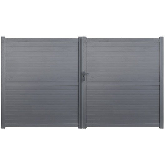 portail battant aluminium detroit gris anthracite, l.300 cm x h