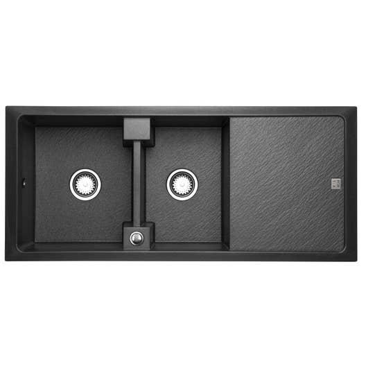 evier encastrer granit et r sine noir contour 2 bacs avec gouttoir leroy merlin. Black Bedroom Furniture Sets. Home Design Ideas