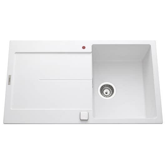 evier encastrer granit et r sine blanc gia 1 bac avec. Black Bedroom Furniture Sets. Home Design Ideas