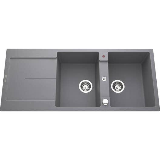 evier encastrer granit et r sine gris m tallis gia 2. Black Bedroom Furniture Sets. Home Design Ideas