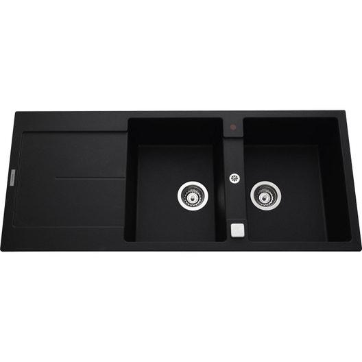 evier encastrer granit et r sine noir gia 2 bacs avec. Black Bedroom Furniture Sets. Home Design Ideas