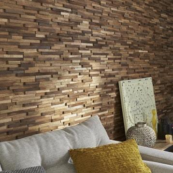 plaquette de parement bois recycl marron boho
