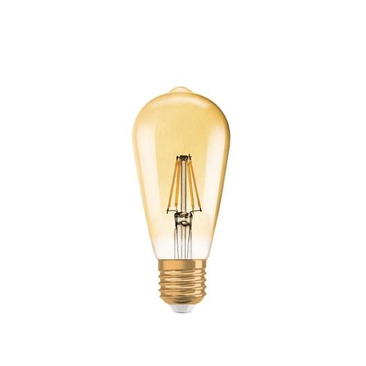 Ampoule filament LED edison dimmable, E27 6.5W = 650 Lm (équiv 51W) 2400K OSRAM