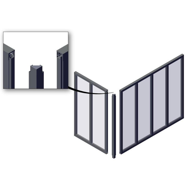 Poteau Dangle Pour Verrière Atelier Gris Mat En Aluminium H108 X L36 Cm