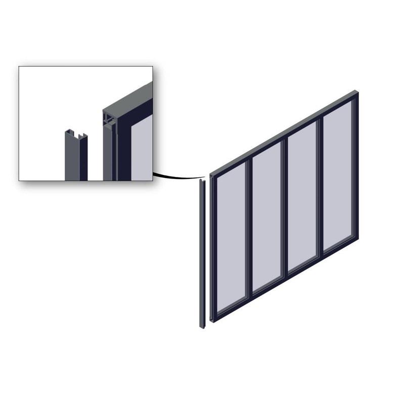 Poteau De Terminaison Verrière Atelier Noir Mat En Aluminium H130 X L12 Cm