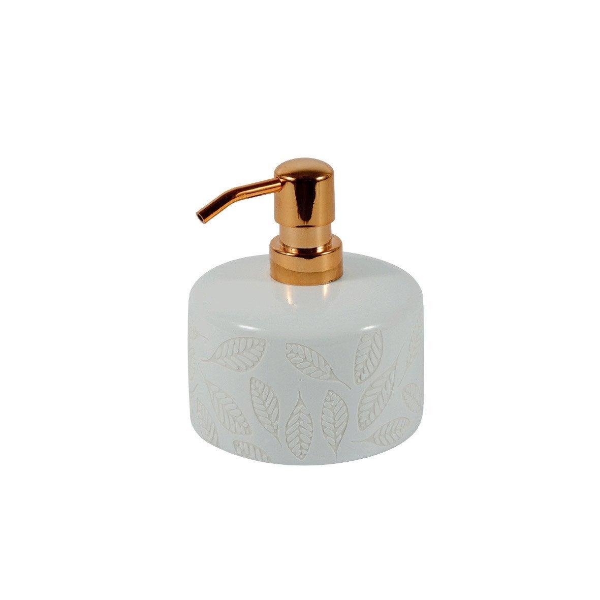 Distributeur de savon céramique Baya, blanc et cuivre
