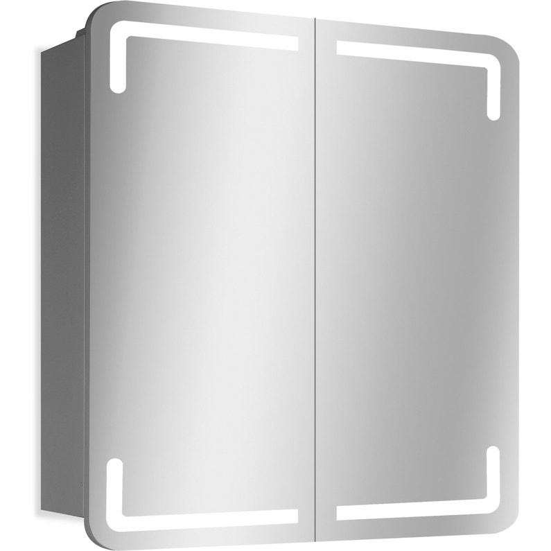 Armoire Led De Toilette Lumineuse L 80 Cm Blanc Estrella