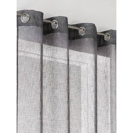 voilage tamisant linum gris b ton x cm leroy merlin. Black Bedroom Furniture Sets. Home Design Ideas