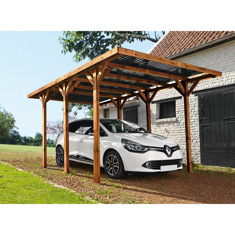 carport bois enzo 1 voiture 1318 m²  leroy merlin
