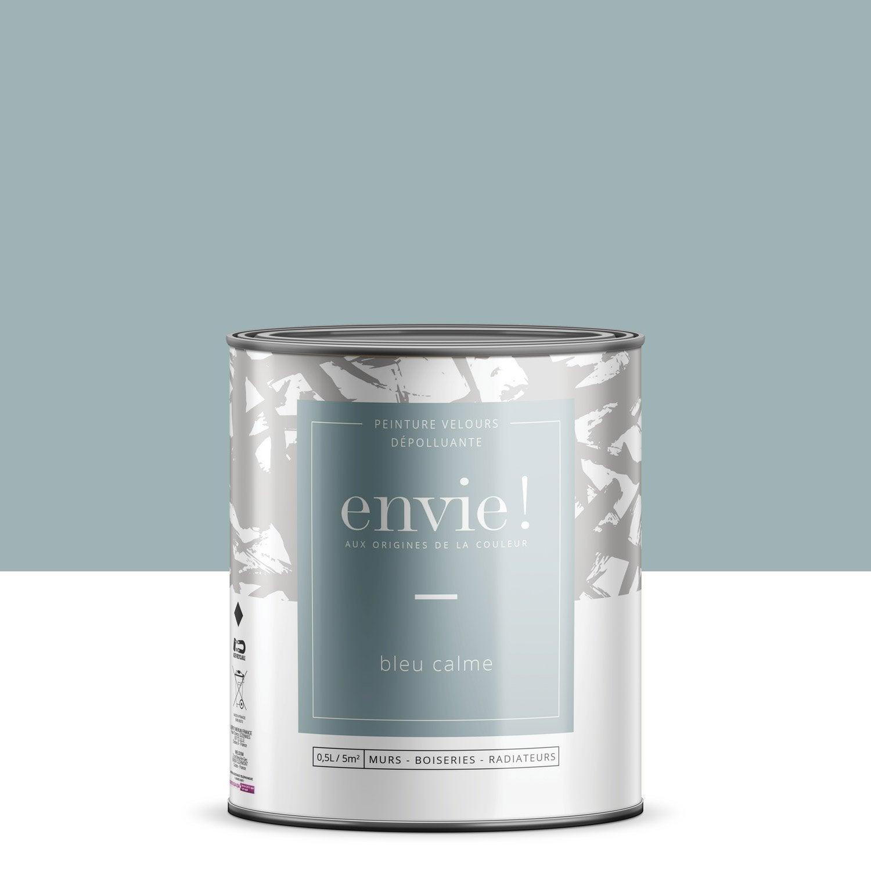 Peinture dépolluante mur, boiserie, radiateur ENVIE bleu calme velours 0.5 l