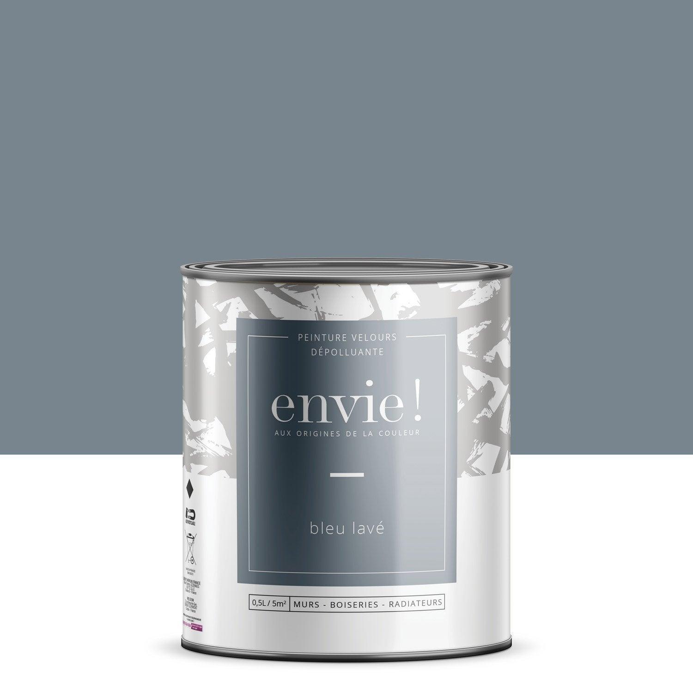 Peinture dépolluante mur, boiserie, radiateur ENVIE bleu lavé velours 0.5 l