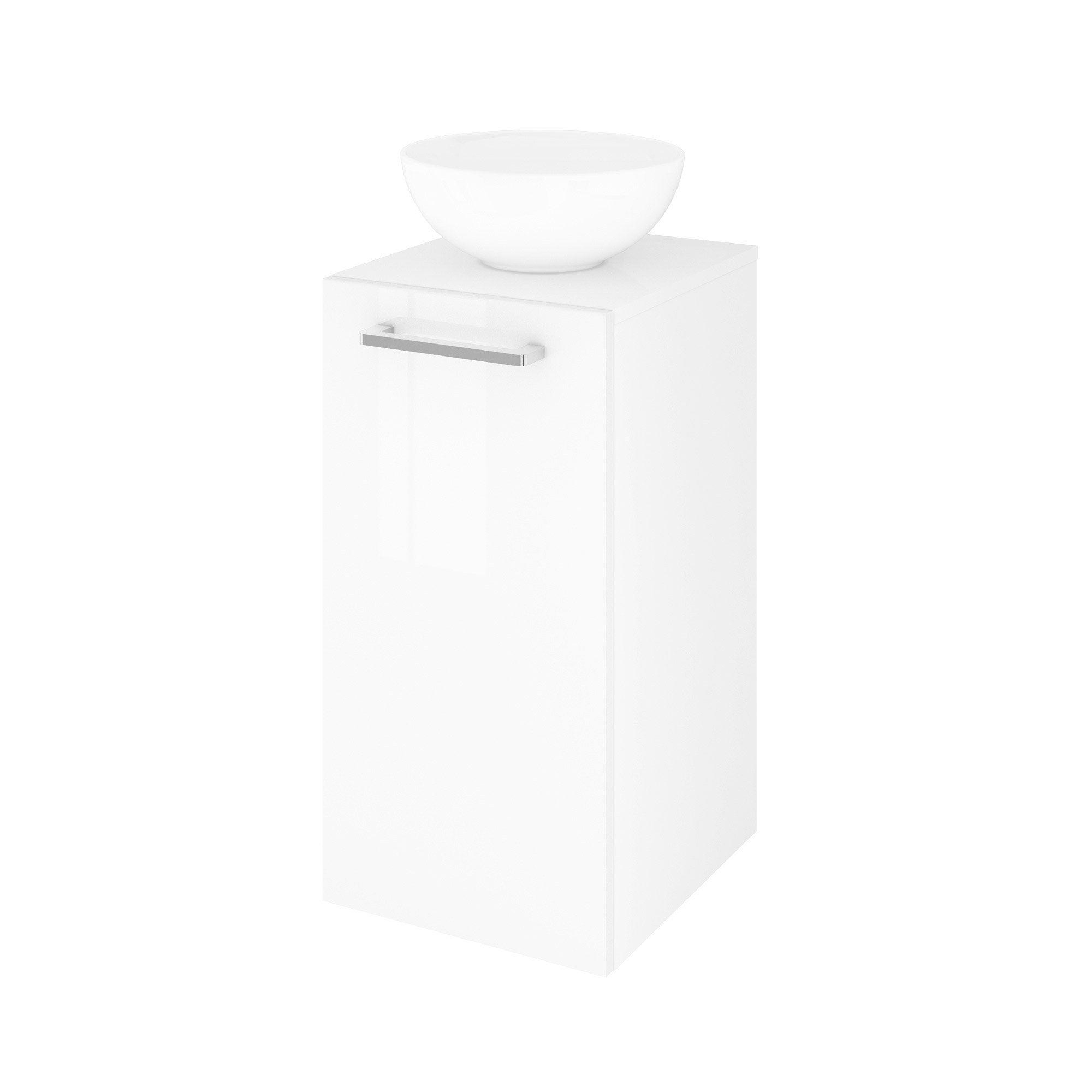 Meuble simple vasque à poser l.37 x H.70 x P.40 cm, blanc, Easy