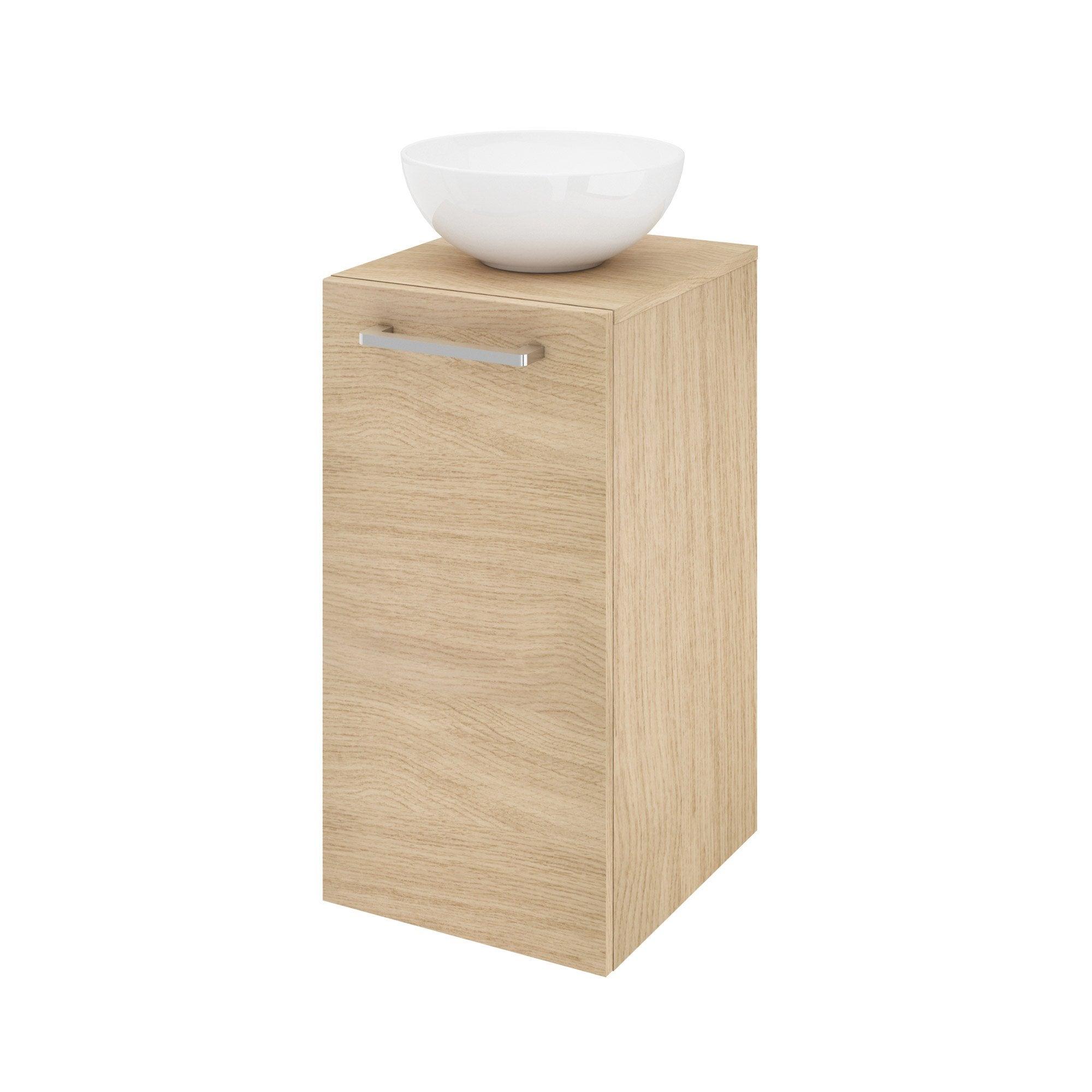 Meuble simple vasque à poser l.37 x H.70 x P.40 cm, effet chêne naturel, Easy